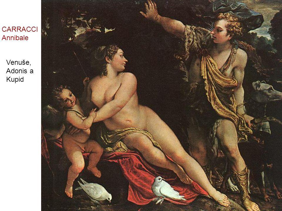 CARRACCI Annibale Venuše, Adonis a Kupid
