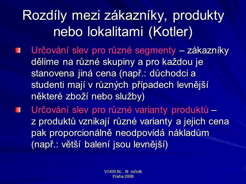 Rozdíly mezi zákazníky, produkty nebo lokalitami (Kotler)