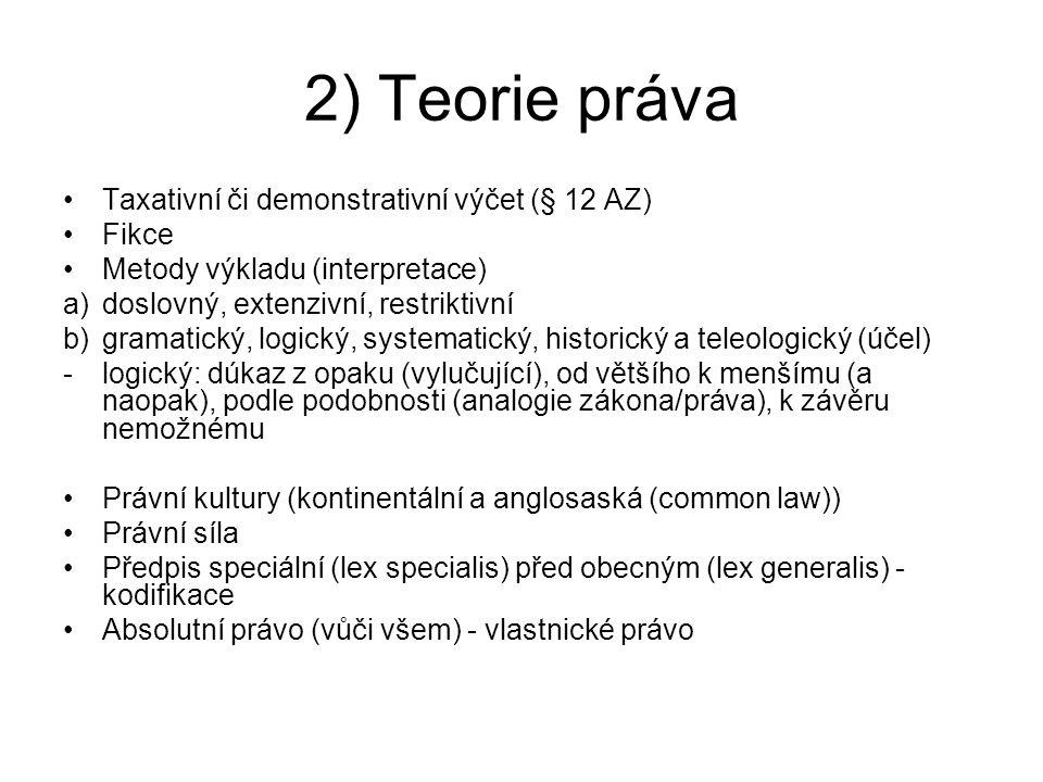 2) Teorie práva Taxativní či demonstrativní výčet (§ 12 AZ) Fikce