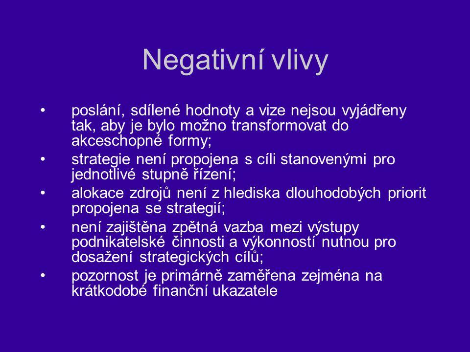 Negativní vlivy poslání, sdílené hodnoty a vize nejsou vyjádřeny tak, aby je bylo možno transformovat do akceschopné formy;