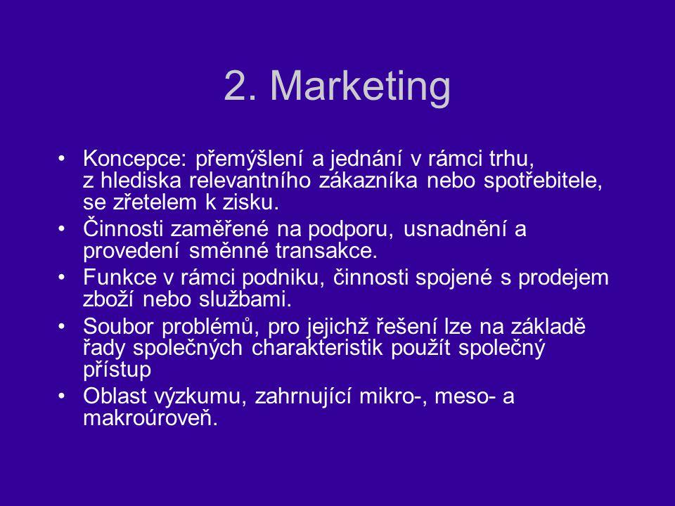 2. Marketing Koncepce: přemýšlení a jednání v rámci trhu, z hlediska relevantního zákazníka nebo spotřebitele, se zřetelem k zisku.