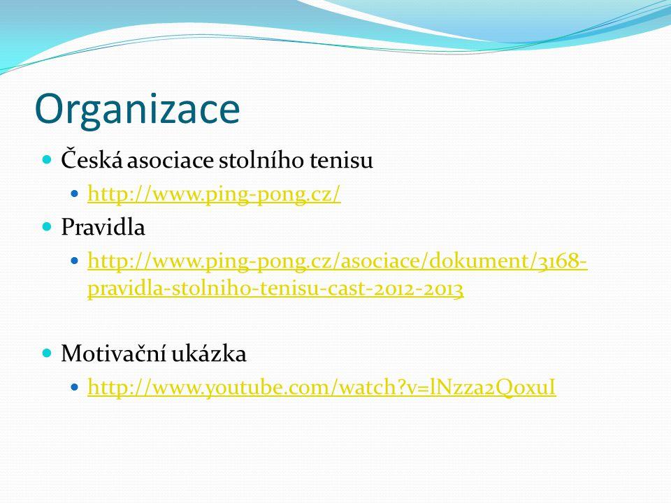 Organizace Česká asociace stolního tenisu Pravidla Motivační ukázka