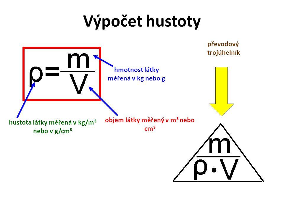Výpočet hustoty převodový trojúhelník