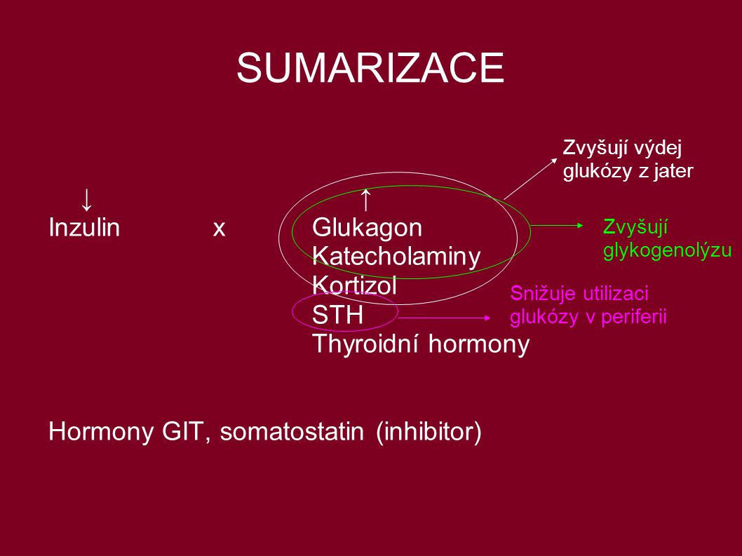 SUMARIZACE ↓ ↑ Inzulin x Glukagon Katecholaminy Kortizol STH