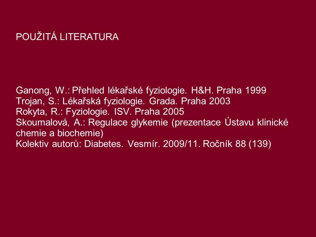 POUŽITÁ LITERATURA Ganong, W.: Přehled lékařské fyziologie. H&H. Praha 1999. Trojan, S.: Lékařská fyziologie. Grada. Praha 2003.