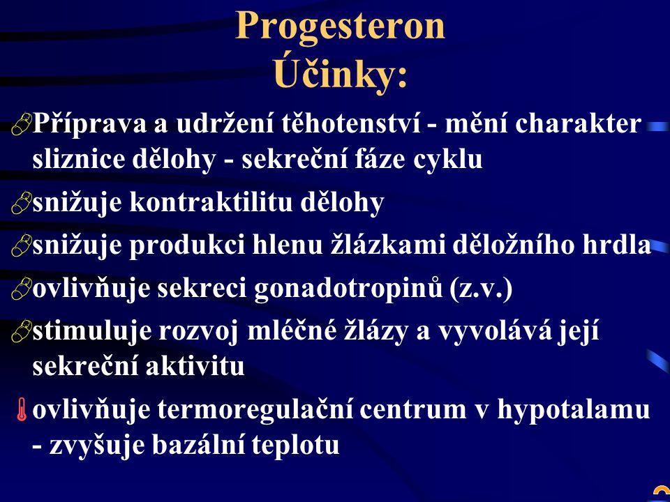 Progesteron Účinky: Příprava a udržení těhotenství - mění charakter sliznice dělohy - sekreční fáze cyklu.