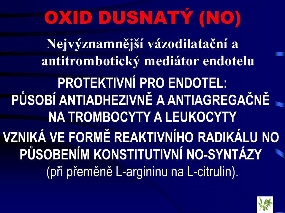 OXID DUSNATÝ (NO) Nejvýznamnější vázodilatační a antitrombotický mediátor endotelu. PROTEKTIVNÍ PRO ENDOTEL: