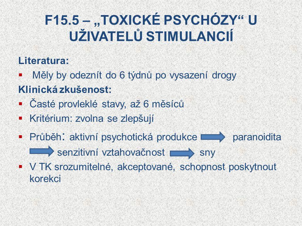 """F15.5 – """"TOXICKÉ PSYCHÓZY U UŽIVATELŮ STIMULANCIÍ"""