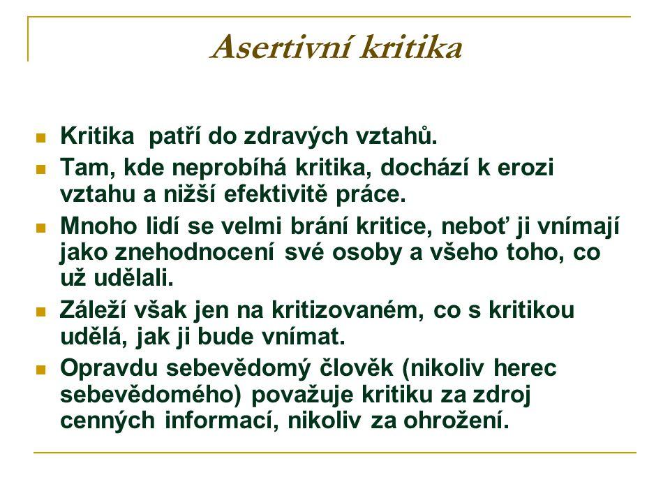 Asertivní kritika Kritika patří do zdravých vztahů.