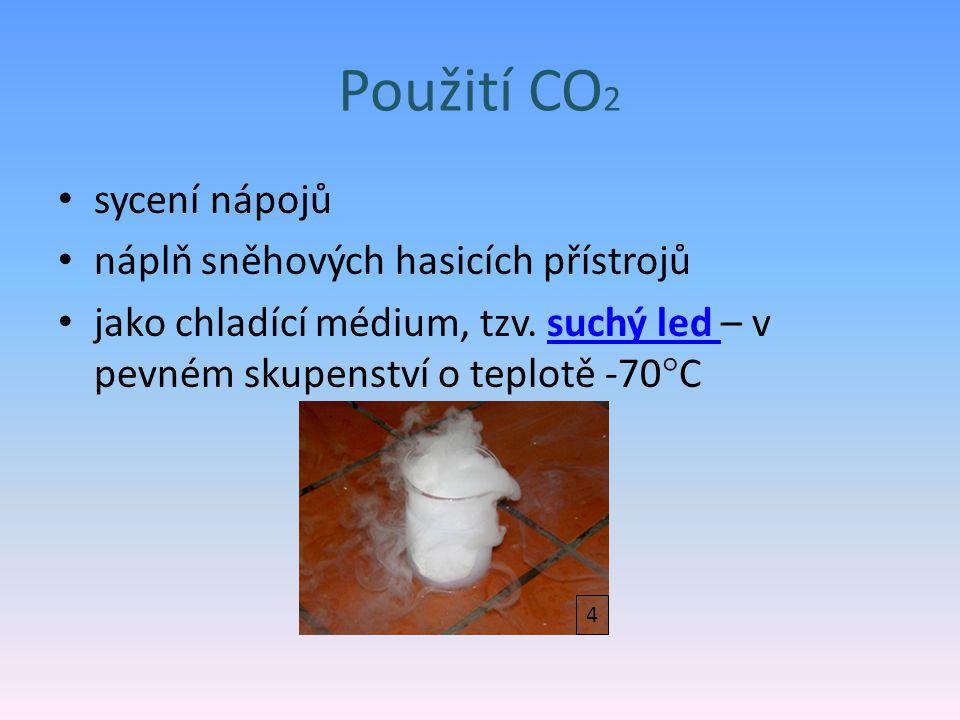 Použití CO2 sycení nápojů náplň sněhových hasicích přístrojů