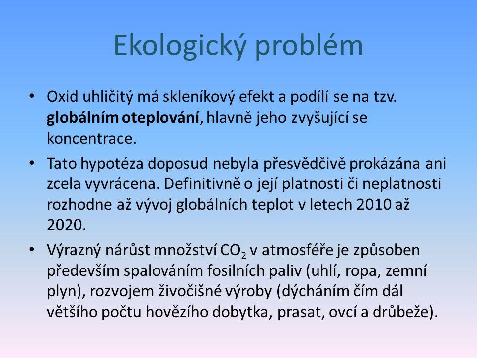 Ekologický problém Oxid uhličitý má skleníkový efekt a podílí se na tzv. globálním oteplování, hlavně jeho zvyšující se koncentrace.