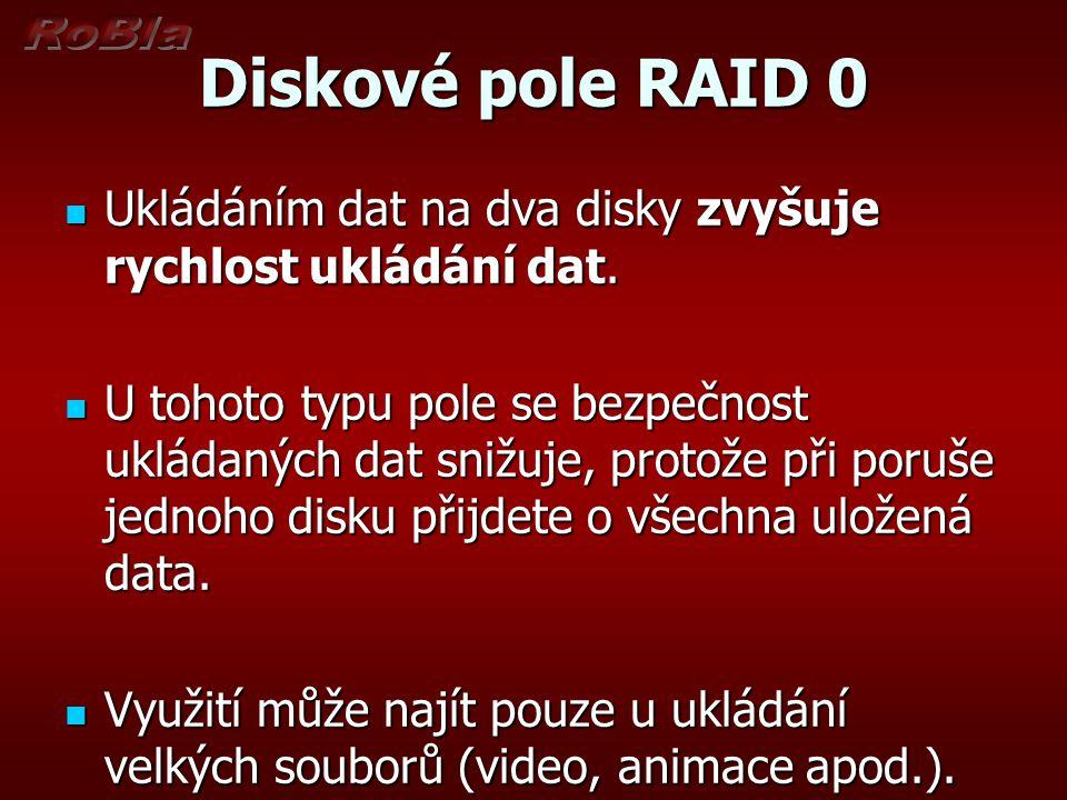 Diskové pole RAID 0 Ukládáním dat na dva disky zvyšuje rychlost ukládání dat.