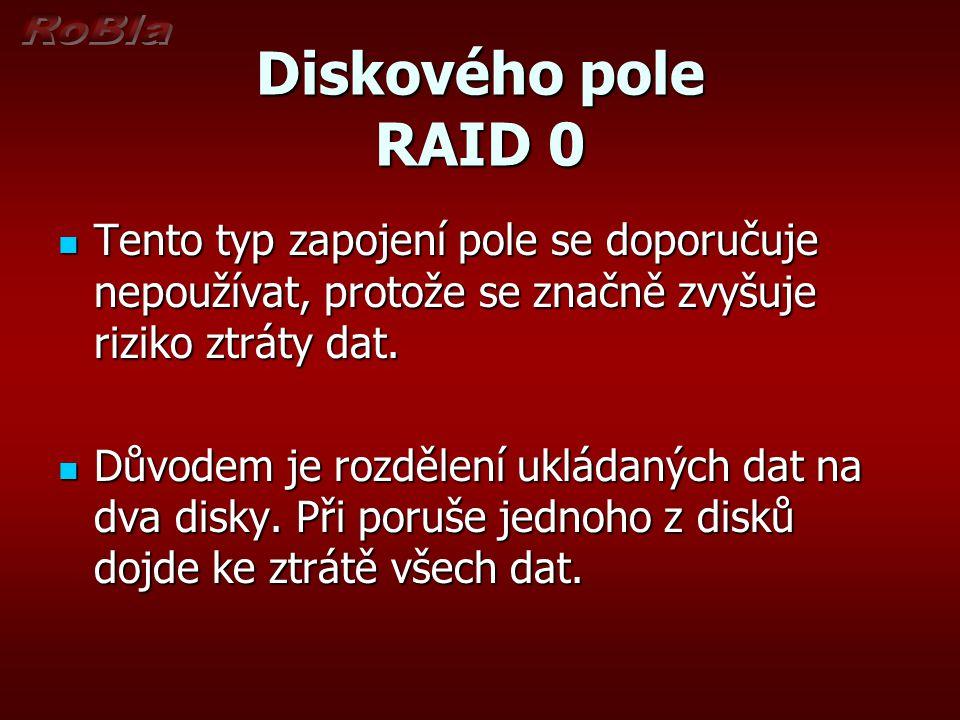 Diskového pole RAID 0 Tento typ zapojení pole se doporučuje nepoužívat, protože se značně zvyšuje riziko ztráty dat.