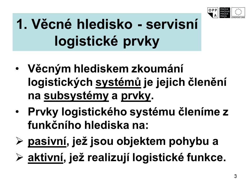 1. Věcné hledisko - servisní logistické prvky