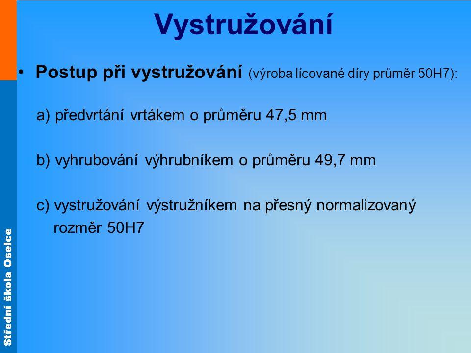 Vystružování Postup při vystružování (výroba lícované díry průměr 50H7): předvrtání vrtákem o průměru 47,5 mm.