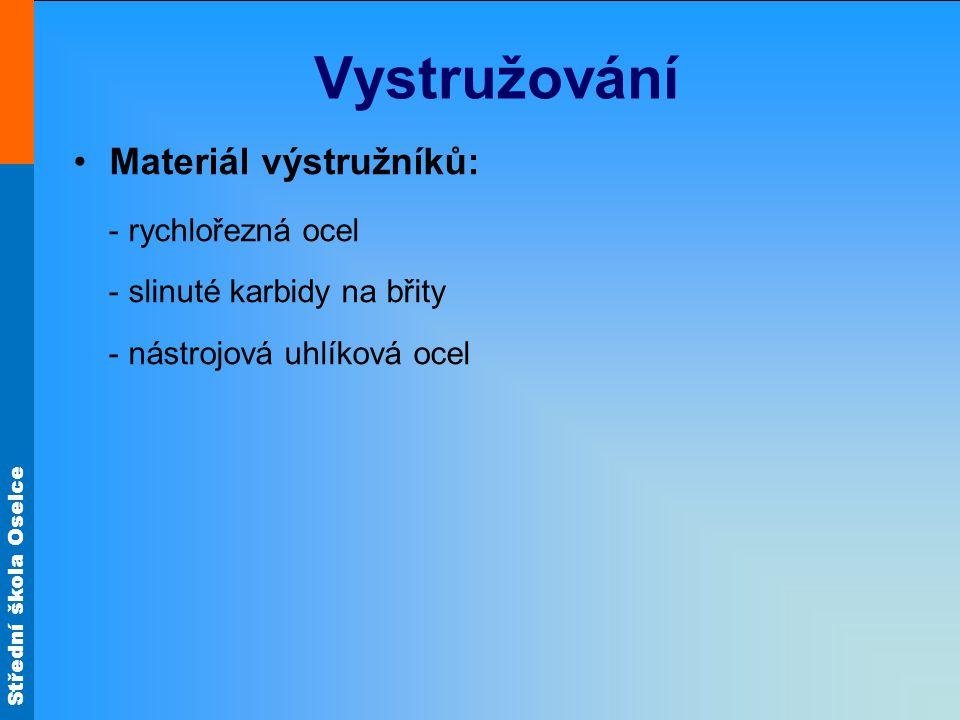 Vystružování Materiál výstružníků: - rychlořezná ocel