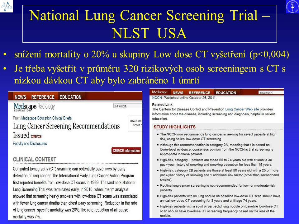 National Lung Cancer Screening Trial – NLST USA
