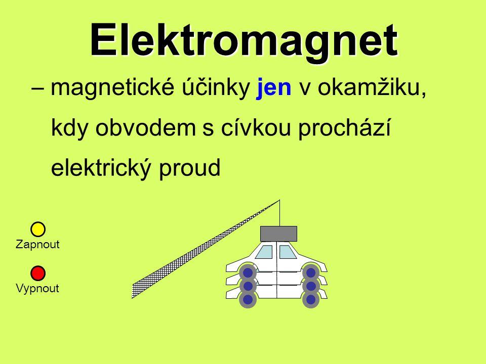 Elektromagnet – magnetické účinky jen v okamžiku,