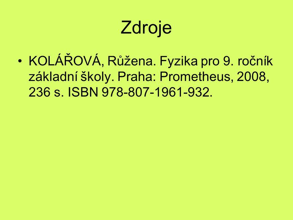 Zdroje KOLÁŘOVÁ, Růžena. Fyzika pro 9. ročník základní školy.