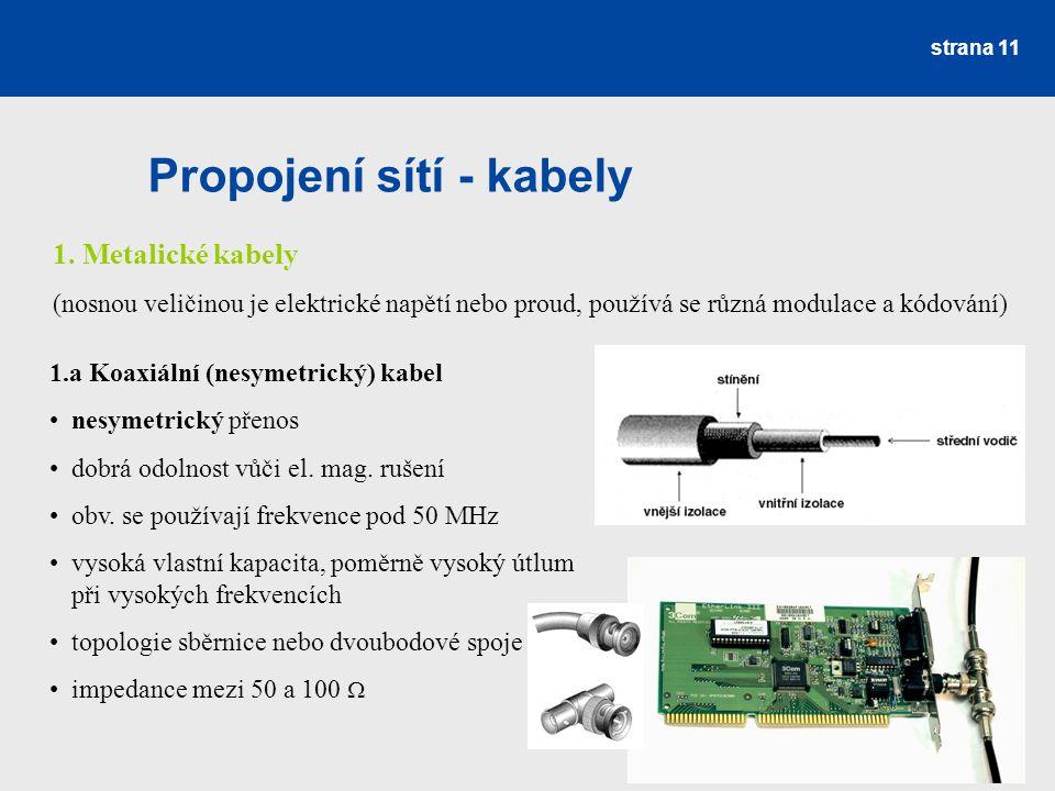 Propojení sítí - kabely