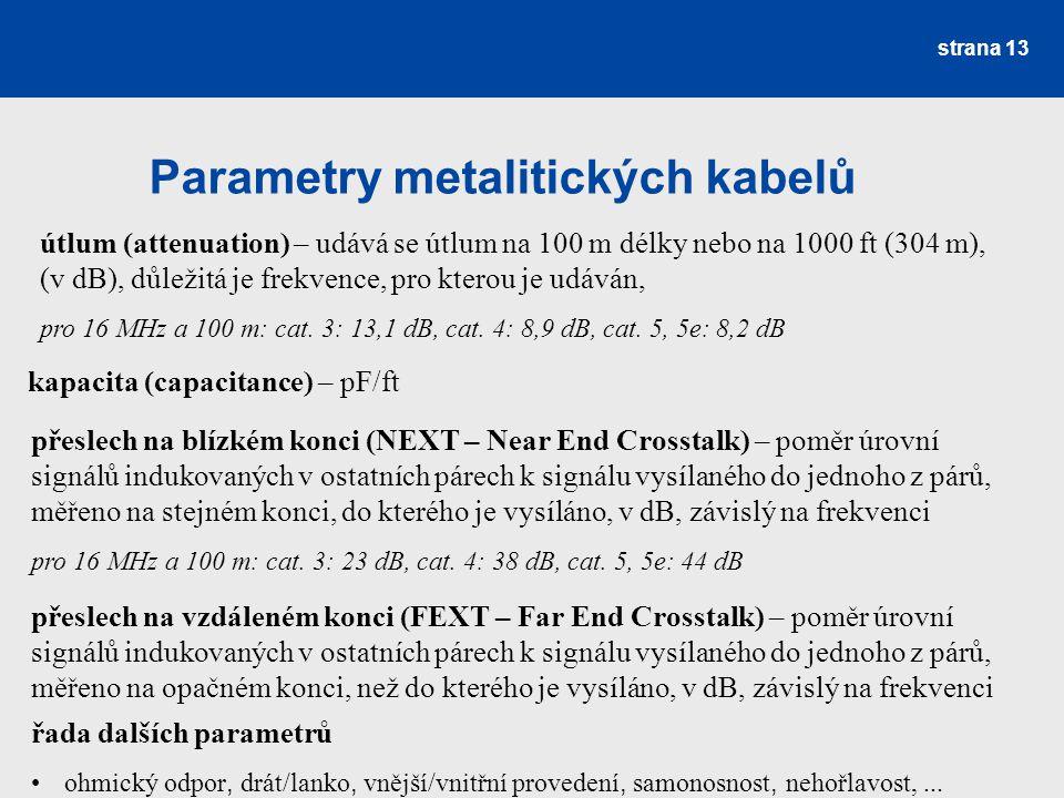 Parametry metalitických kabelů