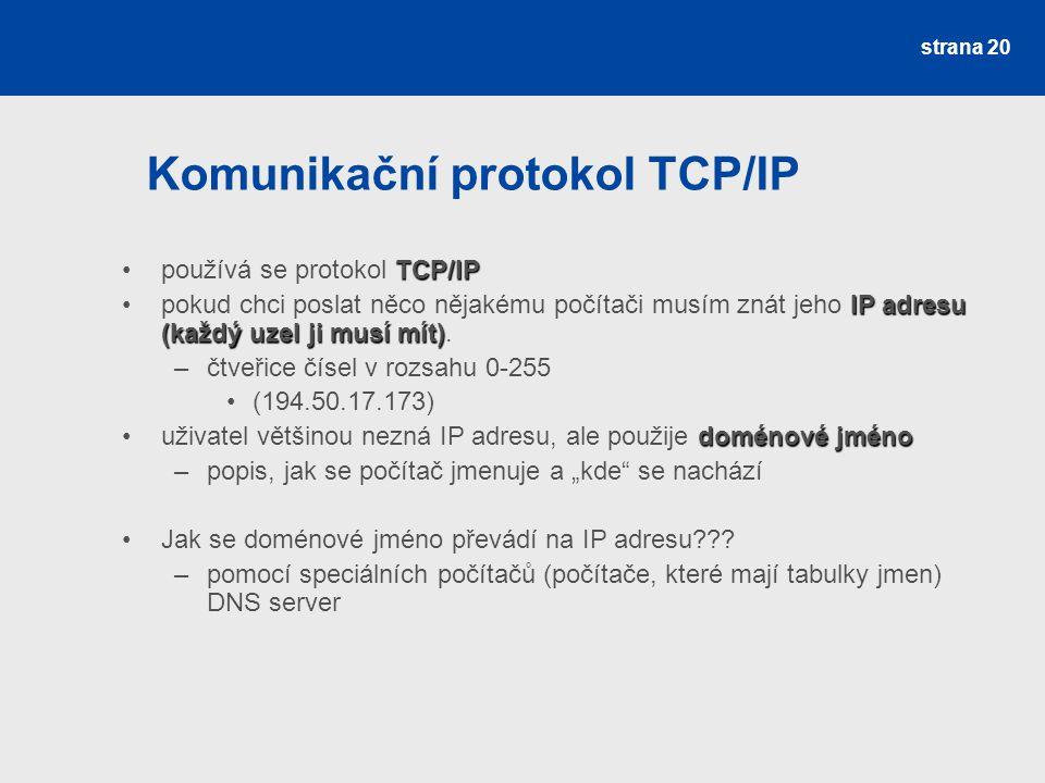 Komunikační protokol TCP/IP