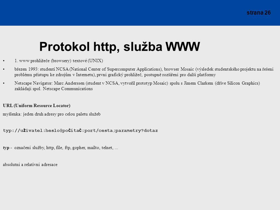 Protokol http, služba WWW
