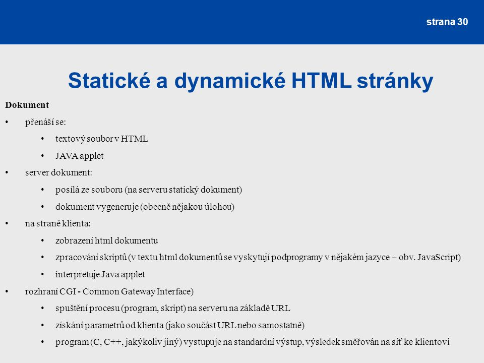 Statické a dynamické HTML stránky