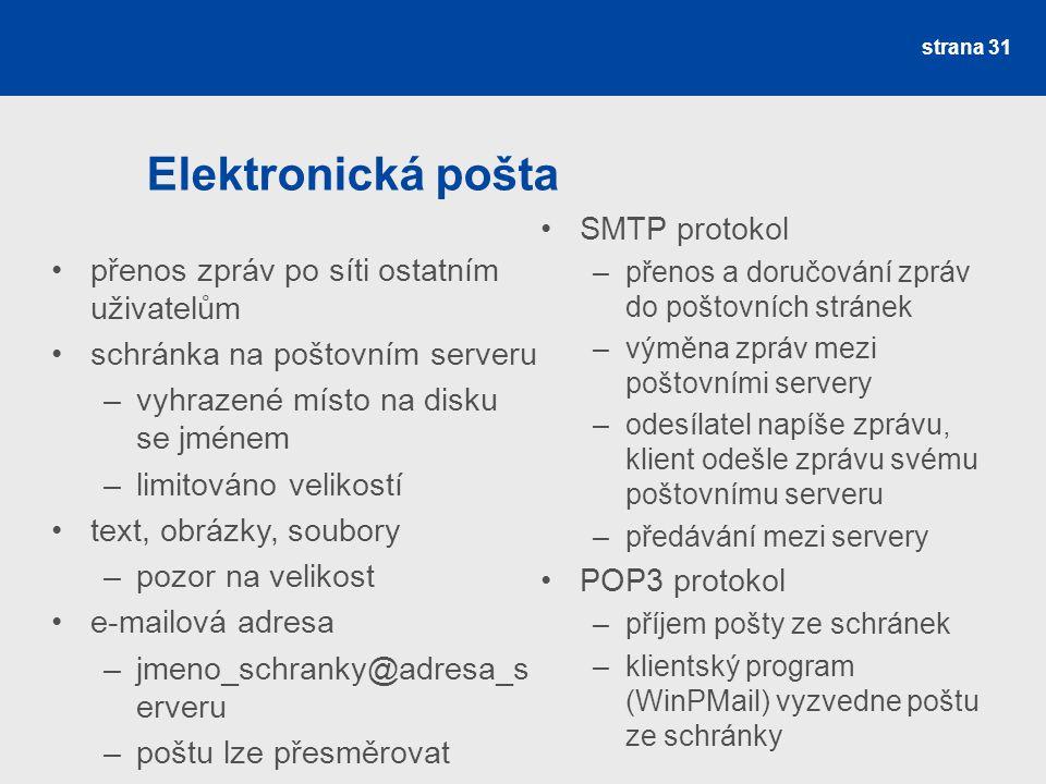 Elektronická pošta SMTP protokol