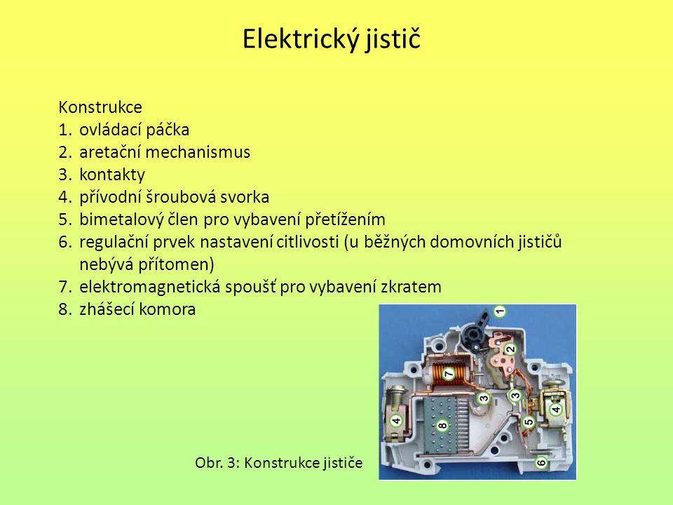 Elektrický jistič Konstrukce ovládací páčka aretační mechanismus