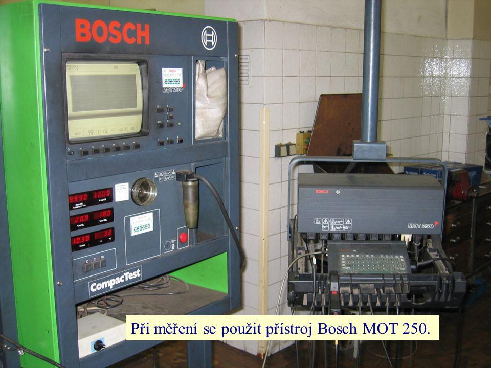 Při měření se použit přístroj Bosch MOT 250.