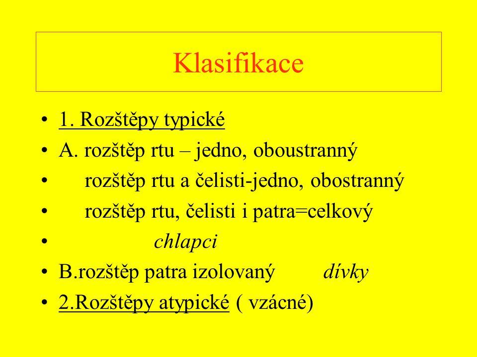 Klasifikace 1. Rozštěpy typické A. rozštěp rtu – jedno, oboustranný