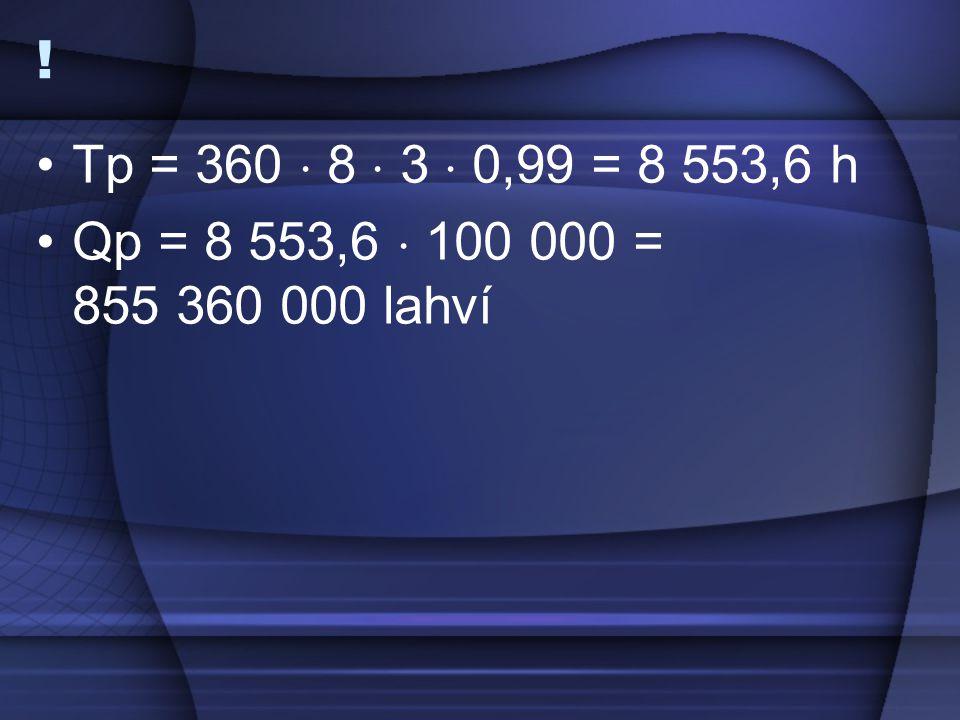 ! Tp = 360  8  3  0,99 = 8 553,6 h Qp = 8 553,6  100 000 = 855 360 000 lahví