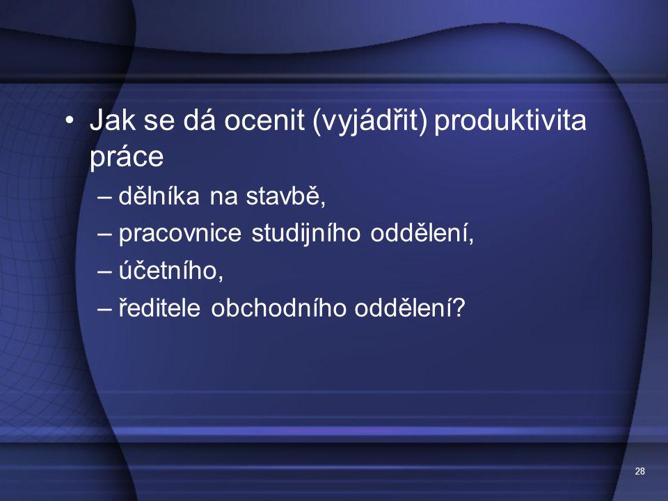 Jak se dá ocenit (vyjádřit) produktivita práce