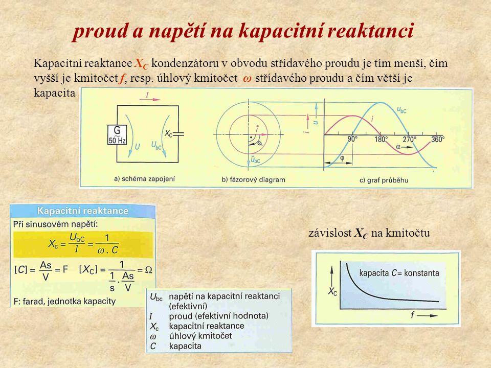 proud a napětí na kapacitní reaktanci