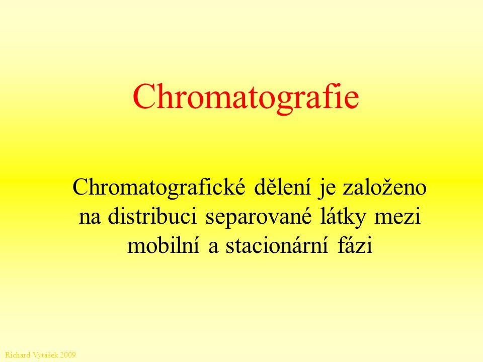 Chromatografie Chromatografické dělení je založeno na distribuci separované látky mezi mobilní a stacionární fázi.