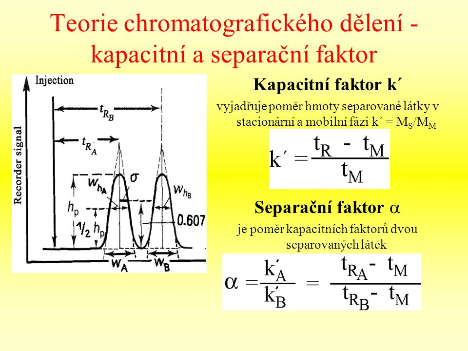 Teorie chromatografického dělení - kapacitní a separační faktor