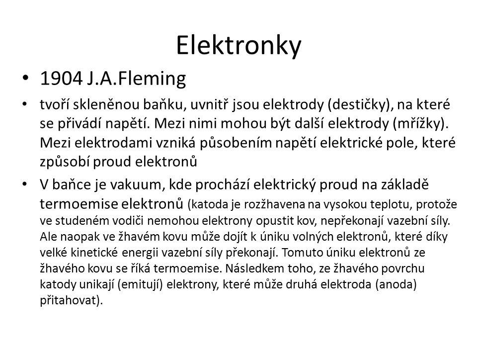 Elektronky 1904 J.A.Fleming.