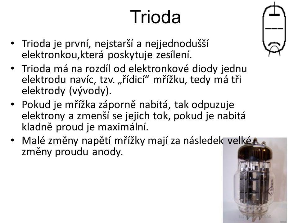 Trioda Trioda je první, nejstarší a nejjednodušší elektronkou,která poskytuje zesílení.