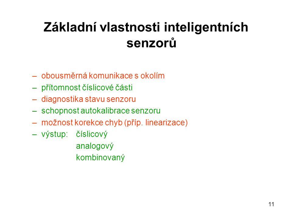 Základní vlastnosti inteligentních senzorů