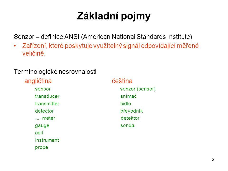 Základní pojmy Senzor – definice ANSI (American National Standards Institute)