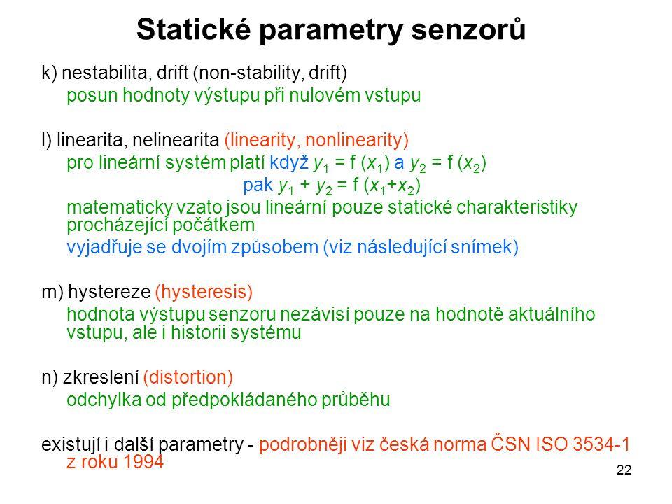 Statické parametry senzorů