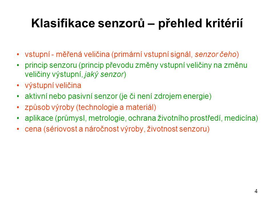 Klasifikace senzorů – přehled kritérií