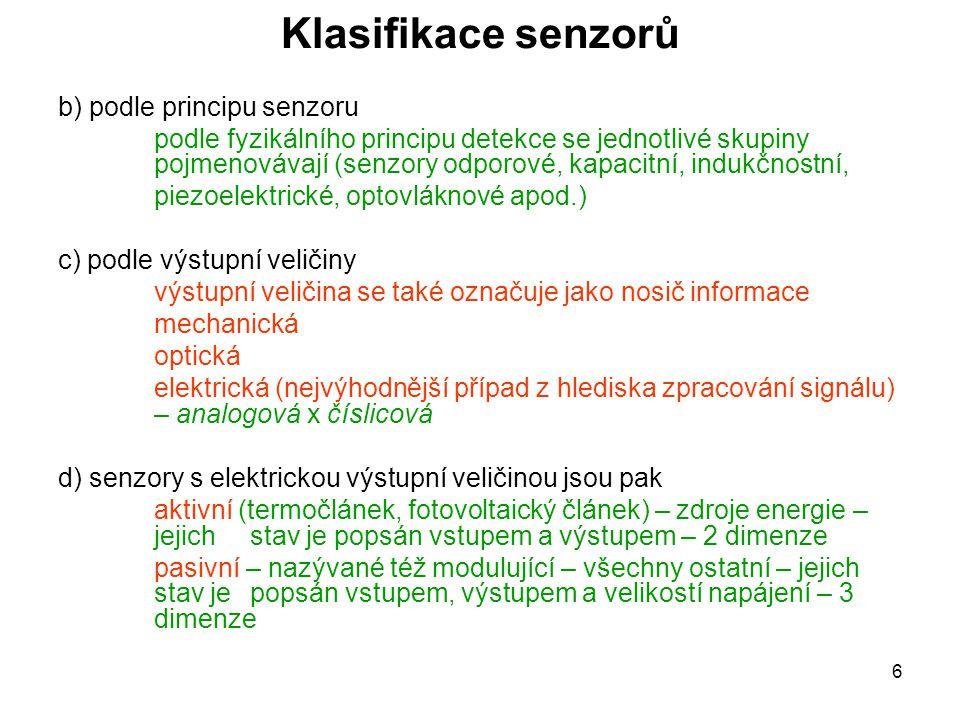 Klasifikace senzorů b) podle principu senzoru