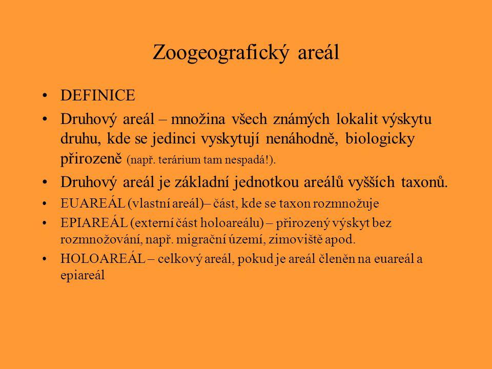 Zoogeografický areál DEFINICE