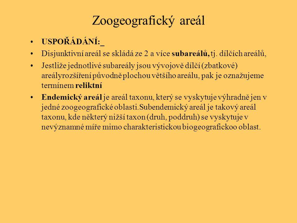Zoogeografický areál USPOŘÁDÁNÍ:_