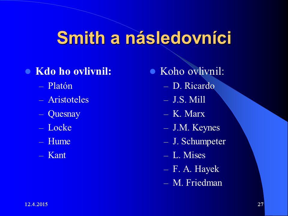 Smith a následovníci Kdo ho ovlivnil: Koho ovlivnil: Platón