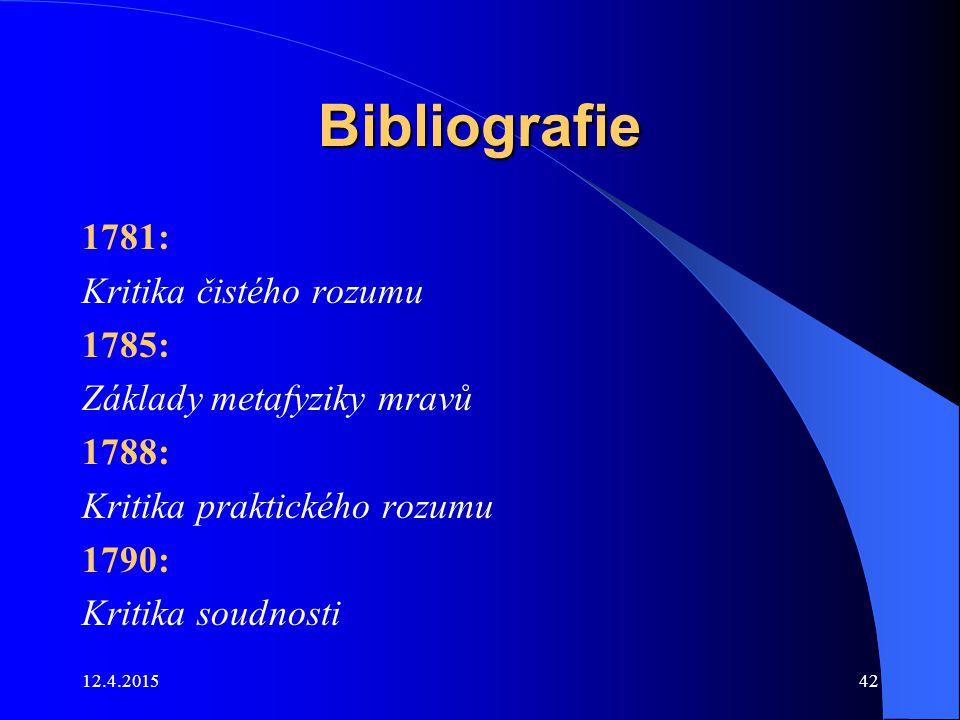 Bibliografie 1781: Kritika čistého rozumu 1785: