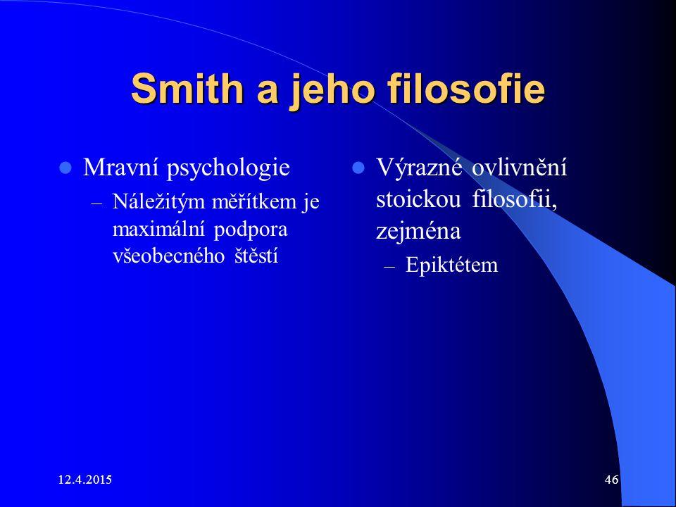 Smith a jeho filosofie Mravní psychologie