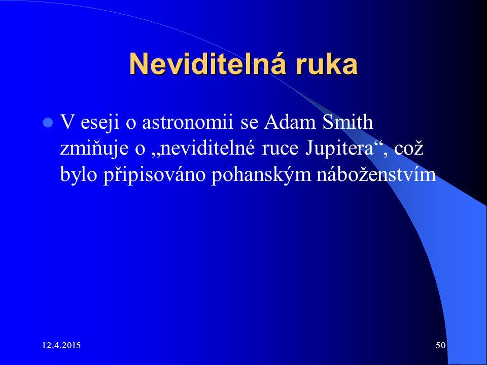 """Neviditelná ruka V eseji o astronomii se Adam Smith zmiňuje o """"neviditelné ruce Jupitera , což bylo připisováno pohanským náboženstvím."""